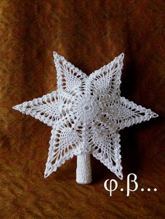 What do you expect from a crochet newsletter? Crochet Christmas Decorations, Crochet Ornaments, Holiday Crochet, Christmas Tree Toppers, Christmas Crafts, Crochet Thread Patterns, Crochet Motif, Crochet Doilies, Crochet Stars