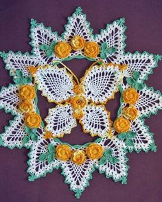 Butterflies and Roses Pineapple Doilies Download (from Maggies' crochet) Fab!