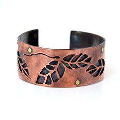 Nature Inspired Copper Leaf Cuff by cyndiesmithdesigns on Etsy, $75.00