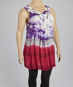 Look what I found on #zulily! Purple Tie-Dye V-Neck Tunic - Plus by Metro 22 #zulilyfinds