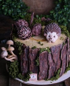 Woodsy Cake, Woodland Cake, Pretty Cakes, Beautiful Cakes, Amazing Cakes, Yule Log Cake, Tree Cakes, Forest Cake, Fairy Cakes