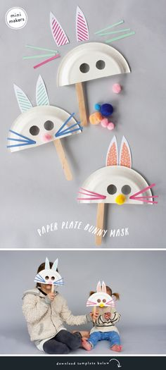 Paper Plate Bunny Mask by raeannkelly: Free template.  #Crafts #Kids #Bunny_Mask
