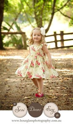 Posey Party Dress PDF Sewing Pattern by Ainslee Fox for confident beginners to sew for little girls size 1-12