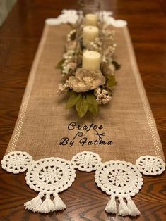 Crochet Bunny, Crochet Motif, Crochet Designs, Crochet Doilies, Crochet Patterns, Crochet Table Runner, Lace Table Runners, Burlap Crafts, Diy And Crafts