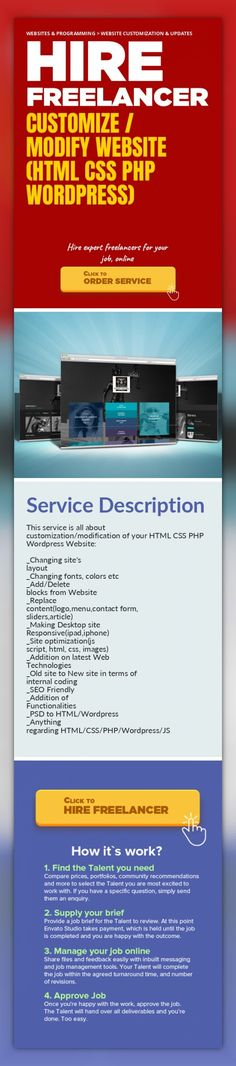 Customize / Modify Website (HTML CSS PHP WORDPRESS) Websites & Programming, Website Customization & Updates   This service is all about customization/modification of your HTML CSS PHP Wordpress Website:    _Changing site's layout  _Changing fonts, colors etc  _Add/Delete blocks from Website  _Replace content(logo,menu,contact form, sliders,article)  _Making Desktop site Responsive(ipad,iphone)  _S...