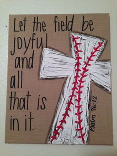 Burlap Textured Baseball Cross Canvas - Let the Field be Joyful and all that is in it - Psalm 96:12 on Etsy, $38.00