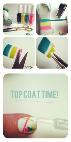 DIY Nail Sticker Decals Using Scotch Tape  http://thebeautydepartment.com/2012/04/sticky-situation/    http://www.small-good-things.com/archives/2475