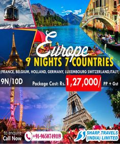 Best offer for an affordable package to Europe where you can get a luxurious stay in Europe for nine nights in seven countries for a perfect holiday experience. Now it is time to live all your vacation fantasies. Europe Tourism, Time To Live, Honeymoon Packages, Group Tours, Luxembourg, Belgium, Holland, Countries, Germany