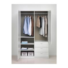 MUSKEN Wardrobe with 2 doors+3 drawers, white white 124x60x201 cm