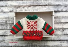 Knitting PATTERN Baby Knit Christmas Sweater   by Bummbul on Etsy