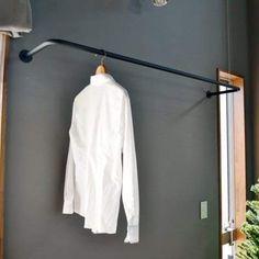 Amazon 【ノーブランド品】アイアン製の物干しパイプ 壁付け 天井吊 洗濯 物 干し バー W1, 365×D300タイプ (ブラック) ランドリー収納 オンライン通販