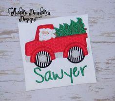 Santa Christmas Truck Applique Machine by AppleDumplinDesign