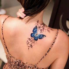 Colour Tattoo For Women, Rose Tattoos For Women, Butterfly Tattoos For Women, Beautiful Tattoos For Women, Shoulder Tattoos For Women, Butterfly Tattoo Designs, Unique Tattoo Designs, Tattoo Designs For Women, Unique Tattoos
