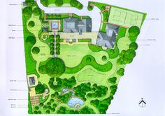 Lovely assortment of round lawns (Masterplan of large Surrey country garden by Acres Wild).