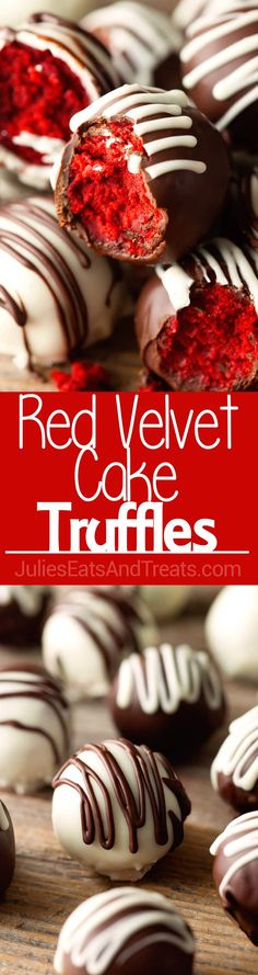 Red Velvet Cake Truffles are the ultimate Valentine's Day treat. Be prepared to fall head over heels for these sweet bites! ~ https://www.julieseatsandtreats.com