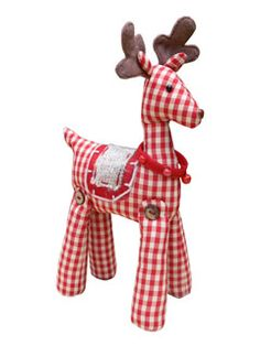 Gingham fabric standing reindeer - Small