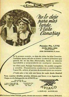 Cartel de promoción de viajes a Canarias. Vintage¡¡ mcga.- Journal Pages, Junk Journal, Travel Ads, Canary Islands, Tenerife, Vintage Travel, My Love, Airports, Poster