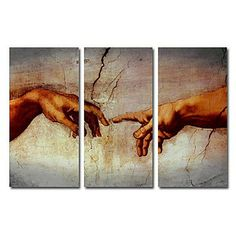 Hand-painted Famous Oil Painting with Stretched Frame by Michelangelo - Set of 3 - Wall Art Ideas
