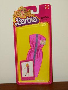1978 Barbie Best Buy Fashions #1466 Strapless Fuchsia Dress NRFP #Mattel #DollClothing