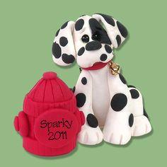 DALMATIAN Personalized Dog Christmas Ornament HANDMADE Polymer Clay