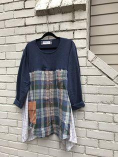 The Caroline Tunic: Plus size upcycled size prairie Mix Clothing, Upcycled Clothing, Sewing Clothes, Diy Clothes, Sewing Ideas, Sewing Projects, Sewing Patterns, Diy Projects, Fashion Merchandising