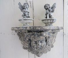Cherub shelf Angel wall decor shabby cherub head by RustikSpiritz Wall Shelves, Shelf, Cherubs, Ceramic Decor, Angels, Shabby, Wall Decor, Ceramics, Wall Hanging Decor