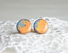 Round wooden cuff links made from reclaimed birch by MyPieceOfWood, $17.00