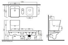 G-FULL 120x50 wc dx con pilozzo - Produzione sanitari di design in ceramica, arredo bagno e accessori - Hatria Srl