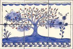 Portuguese Folk Art-style Tree Of Life Ceramic Art by Dy Witt