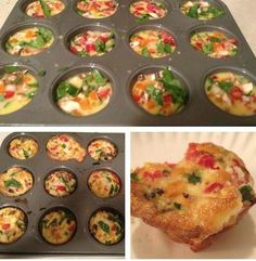 """A quick, easy way to take your Slim Down Scramble (part of the 7DSD and 5DSD) with you to work, school, etc!This makes 24 """"cupcakes"""" which usually lasts me about 2 weeks (I usually freeze half) 1 bell or green pepper (any color is fine) 2 roma tomatoes (or a handful of cherry tomatoes cut up)..."""