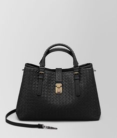 8d54fc3a570d Bottega Veneta NERO INTRECCIATO CALF MEDIUM ROMA BAG
