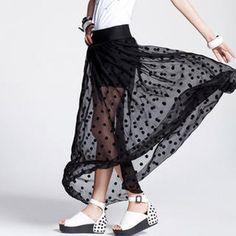 sheer polka dot maxi skirt