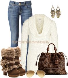 """""""Fur Boots & White Tunic Jumper"""" by casuality on Polyvore"""