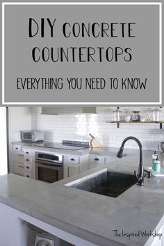 Pour in Place Concrete Countertops - Diy tutorial shows you how to pour  your own white or gray concrete countertops! Filled with helpful video snippets of what to expect when working with concrete for countertops! #diykitchenrenovation #diyconcretecountertops #concretecountertops