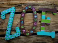 Painted Name Wall Letters in Whimsical Font for Boys and Girls Room, Baby Nursery or Playroom - Custom Item