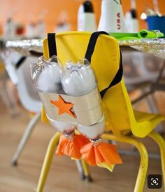 Rocket Ship Birthday Party - fun decorating or craft idea for a space or alien party for kids.Cardboard Spaceship using Makedo screws by Zygote Brown DesignsWe love this idea for an outer space/rocket ship birthday party. A cute, and easy DIY for your bir Birthday Party Themes, Boy Birthday, Birthday Celebration, Birthday Ideas, Birthday Decorations, Birthday Chair, Birthday Crafts, Rocket Ship Party, Rocket Ship Craft