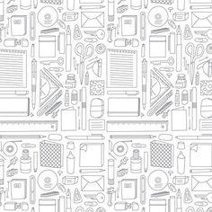 Office Supplies Pattern by ankepanke_design