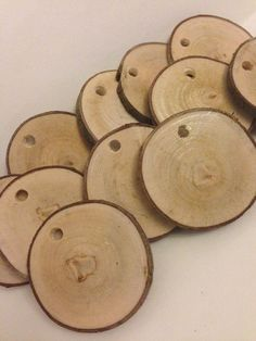 50 qty 2 wood slices with drilled holes tags by KrystlesWeddings