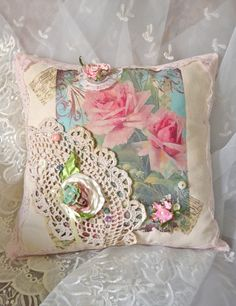 French+Shabby+Chic+Pink+Rose+Pillow+by+OliviabyDesign+on+Etsy