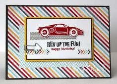 SU! Rev Up the Fun stamp set; I Am Me DSP; colors are Island Indigo, Crushed Curry and Real Red - Claire Daly