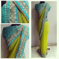 The HYACINTH sari. Lkme green net sari with a beautiful sky blue embelished border. Saree Draping Styles, Saree Styles, Blouse Styles, Saree Blouse Patterns, Saree Blouse Designs, Indian Dresses, Indian Outfits, Indian Clothes, Vestidos