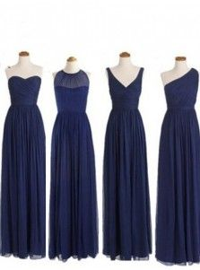 Simple Dress Elegant A-line Floor Length Chiffon Royal Blue Bridesmaid/Prom Dress With Ruched