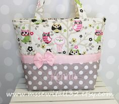 XL Sitn' In a Tree Owls / Gray Polka Dot Quilted by MsSewItAll32, $55.00