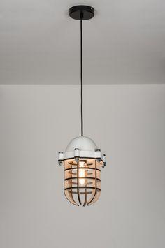 hanglamp 89289: modern, design, industrie, look, hout, kunststof, rond ...