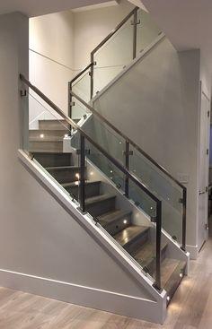 Interior Railings Vancouver - Aluminum Guardrail & Handrails (Commercial / Residential) - Metro Vancouver Railings Glass Stair Balustrade, Stair Railing, Interior Railings, Glass Stairs, Modern Glass, Vancouver, Bedroom Ideas, Commercial, House Ideas