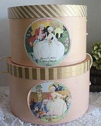Vintage Pink & Gold Hat Boxes  Art Deco Labels Pair-antique, ladies, pink, floral,French