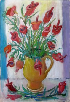 flores bocas 2. Painting of the Serie Still Life for sale by artist Diego Manuel. Cuadro en venta de la Serie Naturaleza Muerta