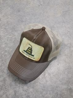 6ddd4002d3dc60 Items similar to Don't Tread On Me Gadsden Flag Baseball Trucker Mesh Cap Hat  Brown on Etsy