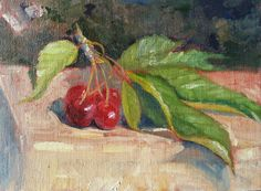 Cherry season in the South of France (6x8 oil painting by Rebecca Stebbins 2016)