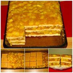 Ingrediente: – 1,8-2 kg mere – 350 g biscuiti populari (40 bucati) – 350 g zahar – 4 plicuri budinca de vanilie – 650 ml apa – 150 g stafide – o sticluta esenta de rom – 1/2 lingurita scortisoara – un praf Sweets Recipes, Desserts, Romanian Food, Sweet Memories, Sugar And Spice, Sorbet, Macaroni And Cheese, Spices, Food And Drink